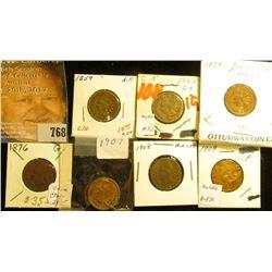 1859 AF, 1863 G+, 1874 G, 1876 G, 1907 G,1908 G, & 1909 F Indian Head Cents.
