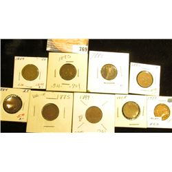 1859 VG, 1880 G, 1881 Fair, 83 F, 84 AF, 85 VG, 99 G, 1908 VG, & 1909 F Indian Head Cents.