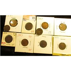 (10) Indian Head Cents, most in holders. All dating 1881-1899, various grades.