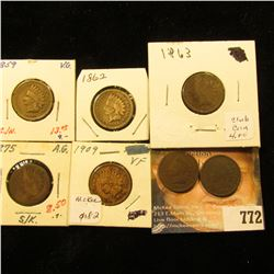 1859 VG, 1862 G, 1863 G, 1875 AG, 1888 damaged, 1891 G, & 1909 F Indian Head Cents.
