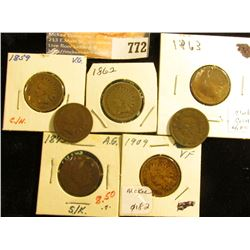 1859 G, 1873 Fine, 1881 G, 1883 G, 1886 G+, 1907 G, & 1909 EF Indian Head Cents.