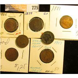 1862 F, 79 G, 81 G, 87 G, 88 G, 91 G Dark, & 1907 G Indian Head Cents.