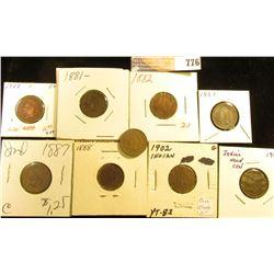 1863 F+ (slightly dark), 81 G, 82 AG, 83 VG, 87 G, 88 G, 1902 G, 1903 G, & 07 Fine Indian Head Cents