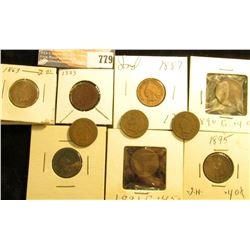 (10) Indian Head Cents, dating 1863-1899, all different dates, various grades.