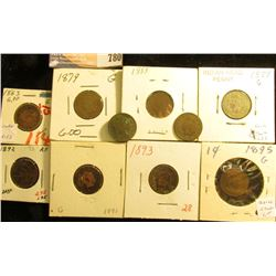 (10) Indian Head Cents, dating 1863-1895, all different dates, various grades.