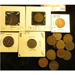 (20) various grade Indian Head Cents dating before 1900, some duplicate dates, all average circulate
