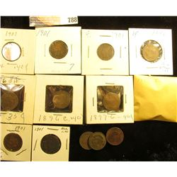 (11) 1897, (3) 1896, (3) 1898, & (5) 1901 Indian Head Cents, average circulated.