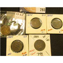 1865 G, 1874 AG-G, 1875 G, 87 VF, & 89 VF Indian Head Cents.
