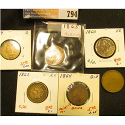 1859, 1860, 62, 64 Bronze, & 1865 Indian Head Cents. Circulated; and a strange blank planchet.