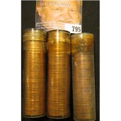 (3) 1958 D Gem BU Rolls of Lincoln Wheat Cents in plastic tubes.
