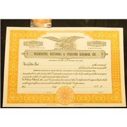 "Unissued State of Illinois Stock Certificate ""Washington, Metamora & Streator Railroad, Inc."", mint"