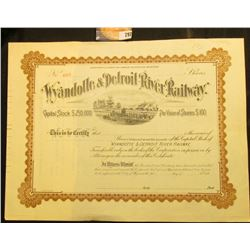 "Unissued State of Michigan Stock Certificate ""Wyandotte & Detroit River Railway"", 1890 era."