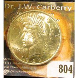 1923 P U.S. Peace Silver Dollar, BU.
