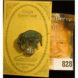 """King's Neverloos Pin"" with paper advertisement and enameled campaign Pin for ""Hoover GOP"". Elephant"