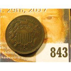 1866 U.S. Two Cent Piece, Fine, few rim ticks.