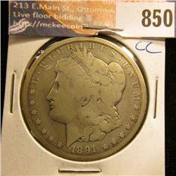 1891 CC U.S. Morgan Silver Dollar, VG.