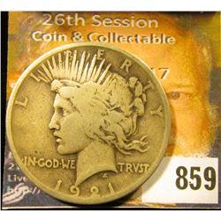 1921 P U.S. Peace Silver Dollar, VG.