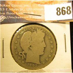 1892 S U.S. Barber Half-Dollar, AG