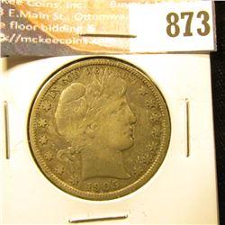 1905 S U.S. Barber Half-Dollar, F some toning.