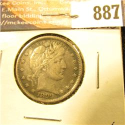 1899 P U.S. Barber Quarter, Toned EF.