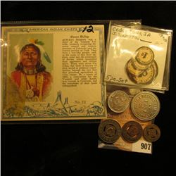 """Five-piece Set of """"Educational Toy Money J.S. Latta""""; Red Man Chewing Tobacco Card """"American Indian"""