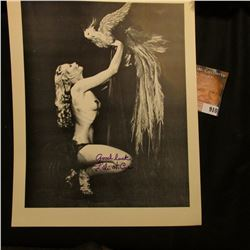 """8 1/2"""" x 11"""" Semi-nude autographed photo of the Actress Lili St. Cyr, autographed """"good luck Lili st"""