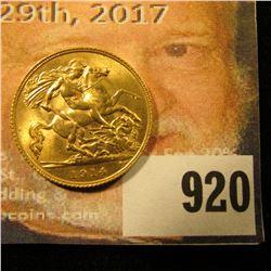 1914 Great Britain Half Gold Sovereign, Gem BU.