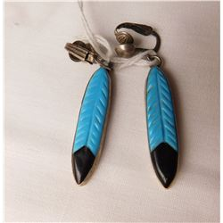S.S. & Turquoise Feather Clip Earrings