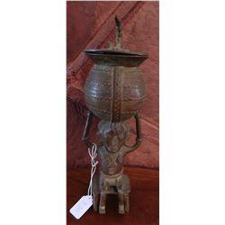 Senufo Figure-Holding-Container Bronze
