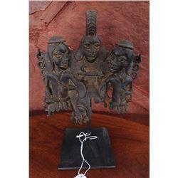Benin Bronze Plaque w/Stand