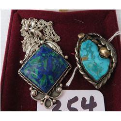 S.S. & Turquoise Necklace + Bolo Tie Pendant