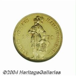 Hamburg. Gold ducat 1870B, Knight