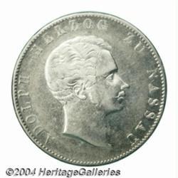 Nassau. Duke Adolph 2 taler 1854, Bust