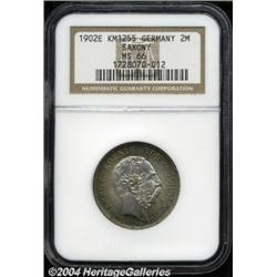 Saxony. Albert 2 Mark 1902E, KM1255, MS66 NGC,