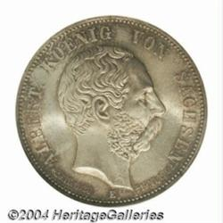 Saxony. Albert 5 Mark 1902E, KM1256, MS65 NGC,