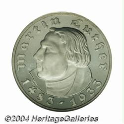 Third Reich. Luther 5 Mark 1933A, KM80, Proof