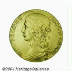 Goetz 5 mark pattern in gold 1925, Bust