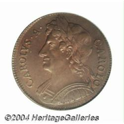 Charles II halfpenny 1673, S-3393. MS64 BN