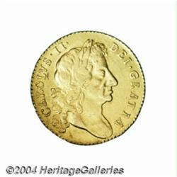 Charles II gold Guinea 1675, S-3344. 4th bust