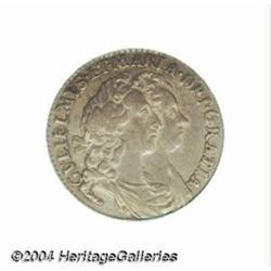 William & Mary Sixpence 1693, S-3438. AU55