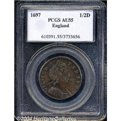 William III Halfpenny 1697, S-3554. No stop