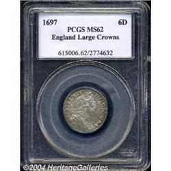 William III Sixpence 1697, S-3538. 3rd bust.