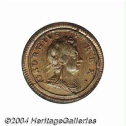 George I copper Farthing 1720, S-3662. MS63