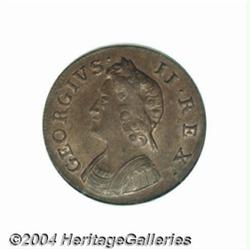 George II copper Farthing 1739, S-3720. MS64