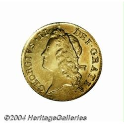 George II gold Guinea 1733, S-3674. 2nd young