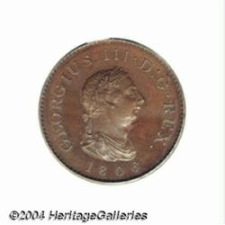 George III bronzed copper Proof Farthing 1806,