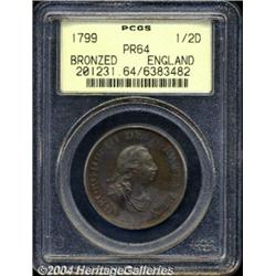 George III bronze copper Proof Halfpenny 1799,