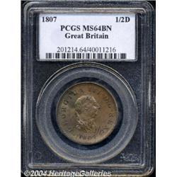 George III Halfpenny 1807, S-3781. MS64 BN