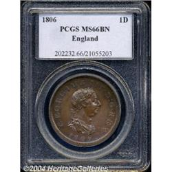 George III Penny 1806, S-3780. MS66 BN PCGS.