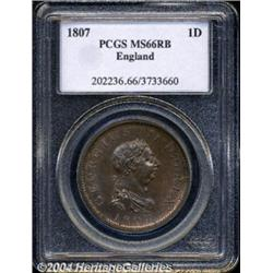 George III Penny 1807, S-3780. MS66 RB PCGS.